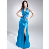 Sheath Halter Floor-Length Charmeuse Prom Dress With Ruffle Beading (018015877)