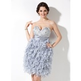 Sheath Sweetheart Knee-Length Feather Homecoming Dress With Ruffle Beading (022020937)