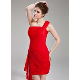 Sheath One-Shoulder Short/Mini Chiffon Cocktail Dress With Ruffle Beading (016021287)