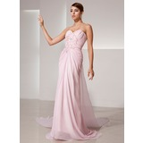 Sheath Sweetheart Watteau Train Chiffon Prom Dress With Ruffle Beading Sequins (018014411)