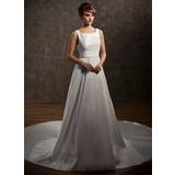 Vestidos princesa/ Formato A Decote redondo Cauda watteau Tafetá Vestido de noiva com Pregueado