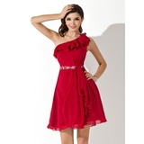 A-Line/Princess One-Shoulder Knee-Length Chiffon Homecoming Dress With Ruffle Beading Sequins (022004445)
