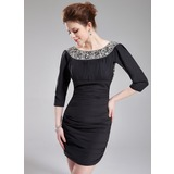 Sheath Scoop Neck Short/Mini Chiffon Cocktail Dress With Beading (016025927)