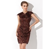 Sheath/Column V-neck Short/Mini Charmeuse Cocktail Dress With Sequins