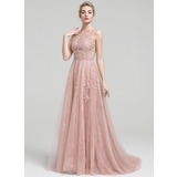 A-Line/Princess Scoop Neck Court Train Tulle Lace Prom Dress With Beading (018109310)