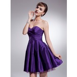 A-Line/Princess Sweetheart Short/Mini Taffeta Tulle Homecoming Dress With Ruffle (022021072)