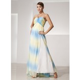 Empire One-Shoulder Sweep Train Chiffon Holiday Dress With Ruffle (020014456)