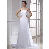 A-Line/Princess Chapel Train Chiffon Wedding Dress With Beading Appliques Lace Cascading Ruffles