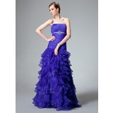 Mermaid Strapless Floor-Length Organza Prom Dress With Ruffle Beading (018021128)
