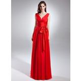 A-Line/Princess V-neck Floor-Length Chiffon Evening Dress With Ruffle Bow(s)