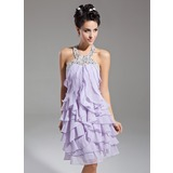 Sheath Halter Knee-Length Chiffon Homecoming Dress With Ruffle Beading (022015085)
