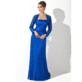Sheath Strapless Watteau Train Charmeuse Lace Mother of the Bride Dress With Ruffle Beading Sequins (008006126)