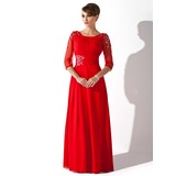 A-Line/Princess Scoop Neck Floor-Length Chiffon Mother of the Bride Dress With Ruffle Beading Sequins