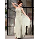 A-Linie/Princess-Linie Eine Schulter Bodenlang Chiffon Kleid für die Brautmutter mit Rüschen Applikationen Spitze