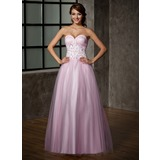 Ball-Gown Sweetheart Floor-Length Tulle Prom Dress