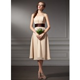 Empire Sweetheart Knee-Length Chiffon Bridesmaid Dress With Ruffle Sash