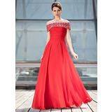 A-Linie/Princess-Linie Off-the-Schulter Bodenlang Chiffon Kleid für die Brautmutter mit Rüschen Perlen verziert Pailletten