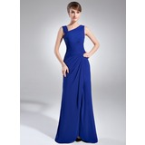 Sheath V-neck Floor-Length Chiffon Mother of the Bride Dress With Ruffle Beading (008006887)
