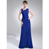 Sheath/Column V-neck Floor-Length Chiffon Mother of the Bride Dress With Ruffle Beading Split Front