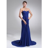 Empire Sweetheart Court Train Chiffon Bridesmaid Dress With Ruffle (007022517)