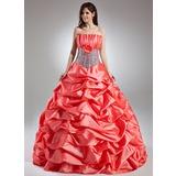 Duchesse-Linie Wellenkante Bodenlang Taft Quinceañera Kleid (Kleid für die Geburtstagsfeier) mit Rüschen Blumen Pailletten