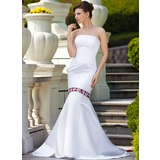 Mermaid Strapless Watteau Train Satin Wedding Dress With Lace Sashes Beadwork (002011613)