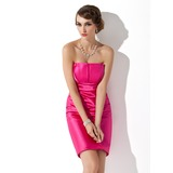 Sheath Scalloped Neck Knee-Length Charmeuse Holiday Dress With Ruffle (020003257)