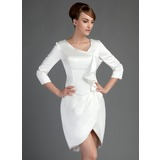 Sheath/Column Short/Mini Charmeuse Mother of the Bride Dress With Cascading Ruffles