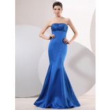 Mermaid Strapless Floor-Length Satin Evening Dress With Ruffle Beading (017014051)