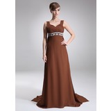 Empire Sweetheart Watteau Train Chiffon Mother of the Bride Dress With Ruffle Beading (008005668)