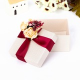 Classic Cuboid Favor Boxes With Flowers (Set of 12)