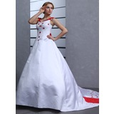 Ball-Gown Off-the-Shoulder Chapel Train Satin Wedding Dress With Embroidered Beading Bow(s)