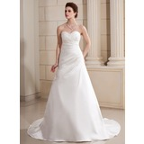 A-Line/Princess Sweetheart Chapel Train Satin Wedding Dress With Ruffle Beading