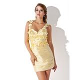 Sheath V-neck Short/Mini Charmeuse Homecoming Dress With Ruffle Beading Flower(s) (022009421)