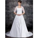 A-Linie/Princess-Linie U-Ausschnitt Hof-schleppe Taft Tüll Brautkleid mit Rüschen Spitze