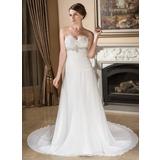 A-Line/Princess Sweetheart Court Train Chiffon Wedding Dress With Ruffle Beading Sequins