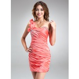Sheath/Column One-Shoulder Short/Mini Taffeta Homecoming Dress With Ruffle Beading