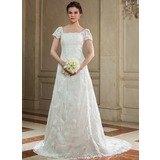 A-Line/Princess Square Neckline Court Train Organza Wedding Dress With Lace Beading