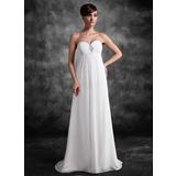 Empire-Linie Herzausschnitt Sweep/Pinsel zug Chiffon Chiffon Brautjungfernkleid Für Schwangere mit Rüschen Spitze Perlen verziert Pailletten
