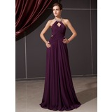 A-Line/Princess Halter Floor-Length Chiffon Evening Dress With Ruffle Beading