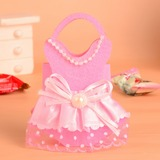 Kind Kleiderentwurf Handtasche geformt Geschenktaschen mit Bogen (Satz von 12)