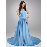 A-Line/Princess Strapless Chapel Train Taffeta Evening Dress With Ruffle (017020686)