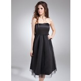 Empire Sweetheart Knee-Length Satin Satin Maternity Bridesmaid Dress With Ruffle