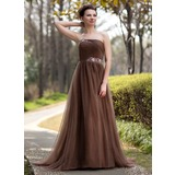 Empire-Linie Trägerlos Sweep/Pinsel zug Tüll Kleid für die Brautmutter mit Rüschen Perlen verziert