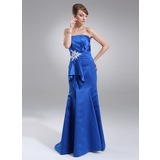 Mermaid Scalloped Neck Sweep Train Satin Prom Dress With Ruffle Beading Appliques (018005101)