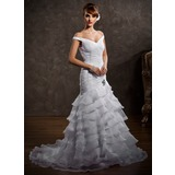 A-Line/Princess Off-the-Shoulder Sweep Train Organza Satin Wedding Dress With Ruffle Lace Beadwork (002008188)