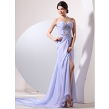 Sheath Sweetheart Watteau Train Chiffon Evening Dress With Ruffle Beading (017014057)