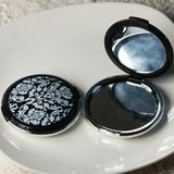 Floral Design Hard plastic Compact Mirror With Ribbons/Tag