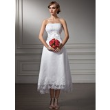A-Line/Princess Sweetheart Asymmetrical Satin Organza Wedding Dress With Lace Beading Sequins