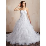 Ball-Gown Sweetheart Chapel Train Satin Organza Wedding Dress With Lace Beading Flower(s) Cascading Ruffles